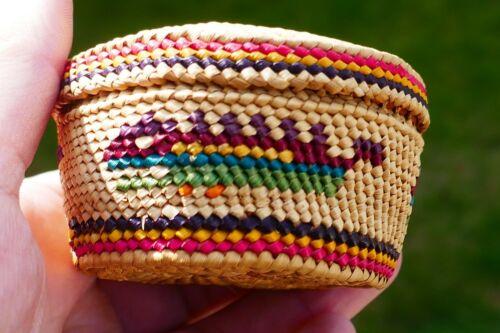 Native Nootka Woven Vivid Polychrome Treasure Basket - Mythical Monster Fish