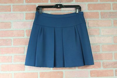 J.Crew Box Pleat Crepe School Girl Mini Skirt in Caravan Blue Size 4 - Schoolgirl In Skirt