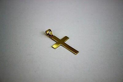 10K Yellow Gold High Polish Plain Flat Cross Pendant Charm 3 sizes 10k Gold Polished Cross Pendant