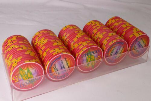 CHIPCO INTERNATIONAL $5 SAMPLE hotel casino gaming poker chips~With RACK - 100
