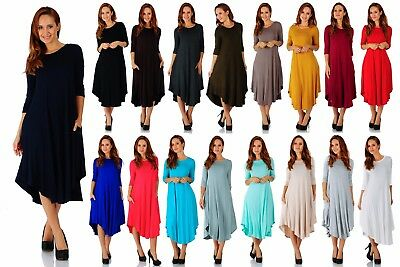 Women's Rayon Span Maxi 3/4 Sleeve Rounded Hem Dress (Size:Small-5X) AD1077 ()