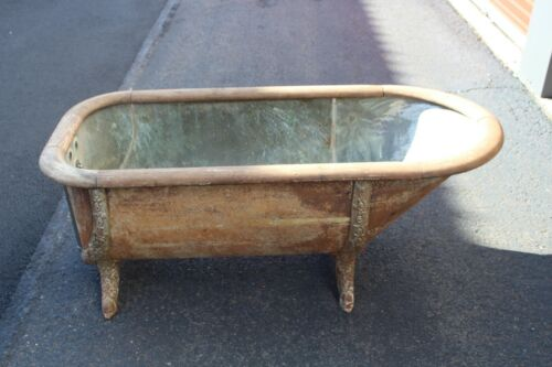 LARGE Antique Victorian Bath Tub Copper Tin Metal Wood Rail Cast Iron Leg Garden