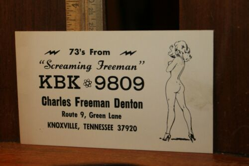 Vintage QSL Card Charles Screaming Freeman Denton Risque Nude Woman Knoxville TN