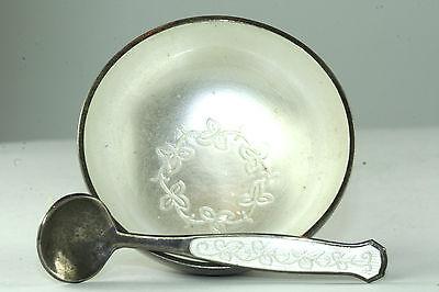 VTG 1950'S MEKA DENMARK STERLING SILVER WHITE ENAMEL SALT DISH CELLAR  & SPOON