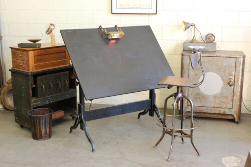 Vintage Antique Industrial Drafting Drawing Table Desk Cast Iron Wood 1910s