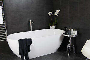 Swish Marbrex Anthracite Tile Effect Bathroom Cladding Wall Shower Panels Sam