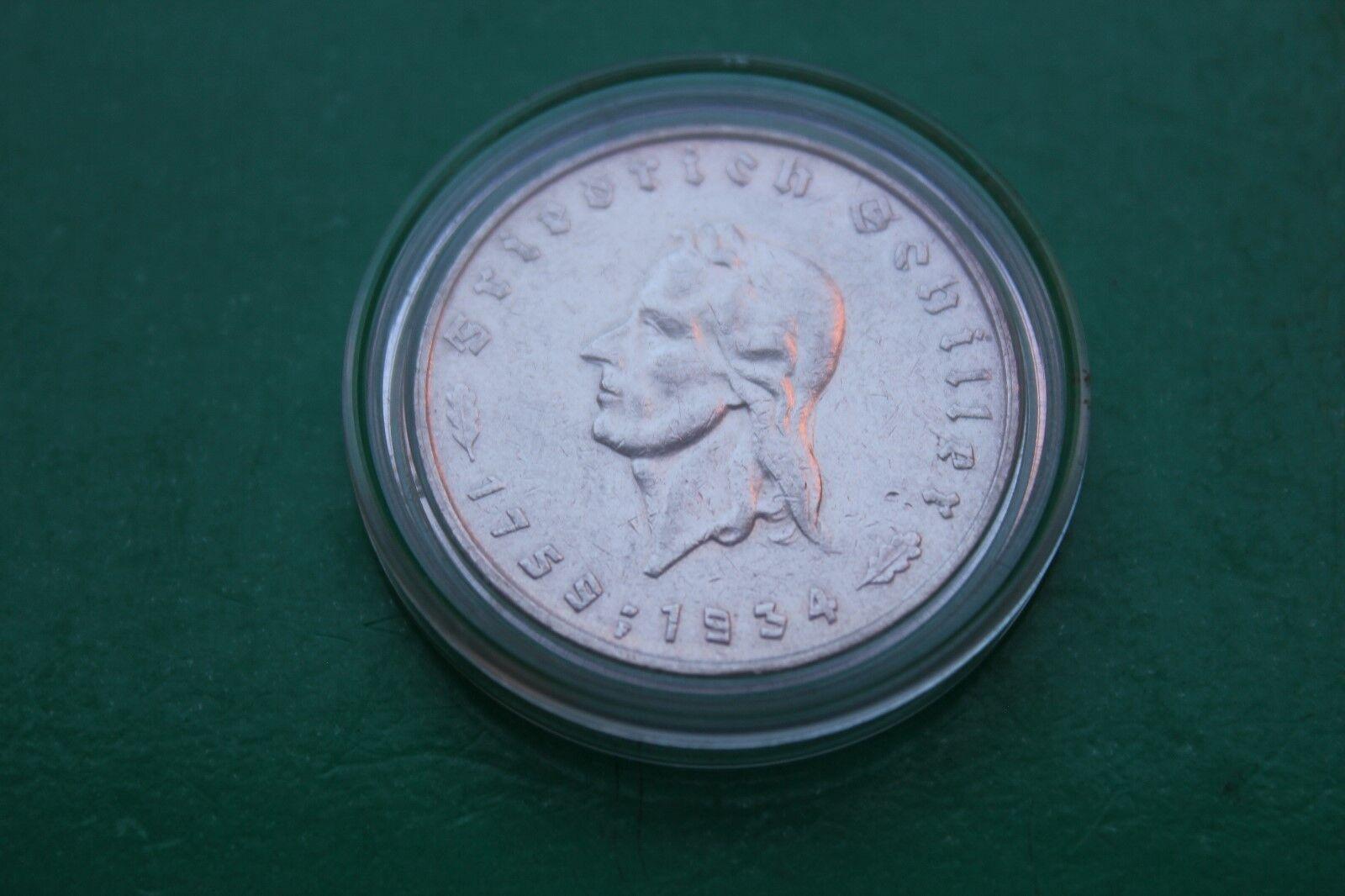 Deutsches Reich / 5 Mark 1934 F / Silber / zum 175. Geburtstag von Schiller