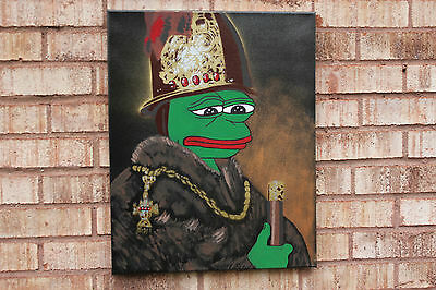"Rare Pepe (Sad Frog) on 16x20"" Canvas 