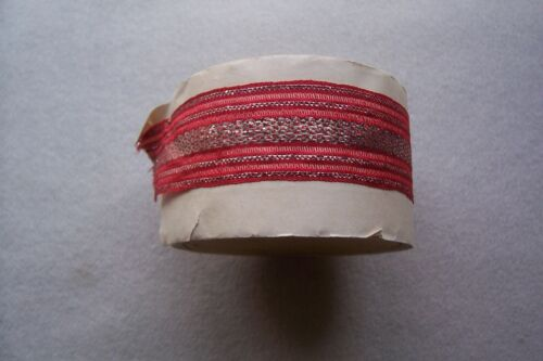 Vintage Antique Edwardian Stunning Red Ribbon with Silver Metallic Threads