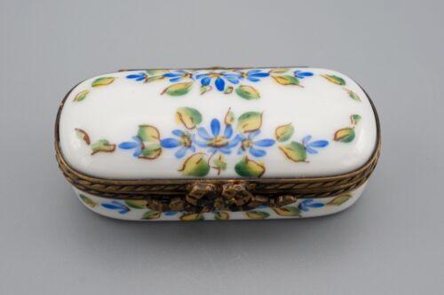Limoges France Porcelain Trinket Box Meche Blue Flower Leaves Decor Main