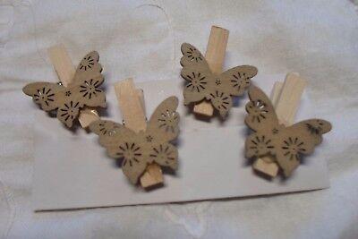 SCONTO  8 mollette legno e Farfalla  MM 35X30 X  bomboniere segnaposto fioristi
