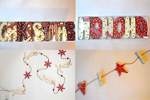 Shabby-chic-red-cream-white-wooden-Christmas-garland-decoration-present-gift