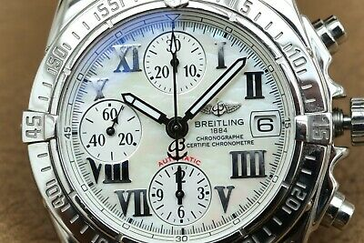 SPARES OR REPAIRS, Breitling Cockpit Chrono - white MOP dial, brown Croco strap
