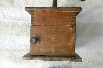 Antique Coffee Mill Pat.1888 Tongue In Groove Wood,metal Handle