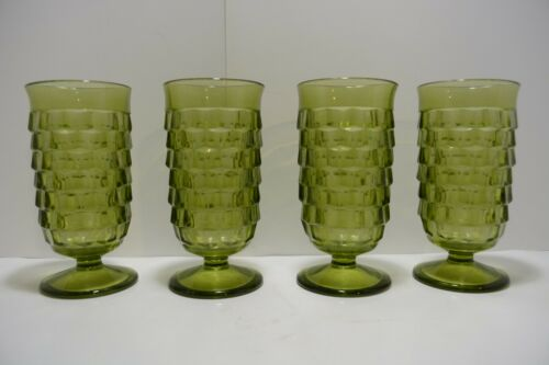 """Set of 4 Vintage Green Cubist Indiana WHITEHALL ICE TEA WATER Footed Glasses 5"""""""