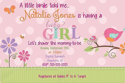 Cute Tweet Baby Girl Baby Shower Invitations Print your Own Digital Birdie ](Cute Baby Shower Invitations)