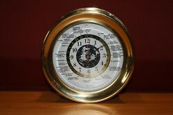 Vintage Old Polished Brass Quartz Wall Hanging Battery Powered World Clock Rare