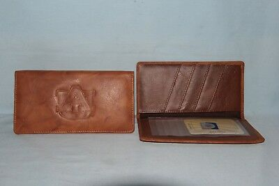 AUBURN TIGERS      Leather Checkbook   NEW   brown d +
