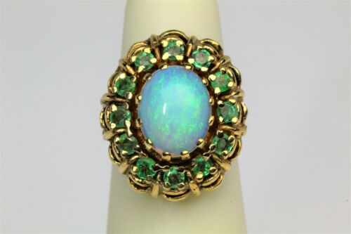 Antique Precious Blue Opal Emerald Halo 14K Yellow Gold Ring WOW!