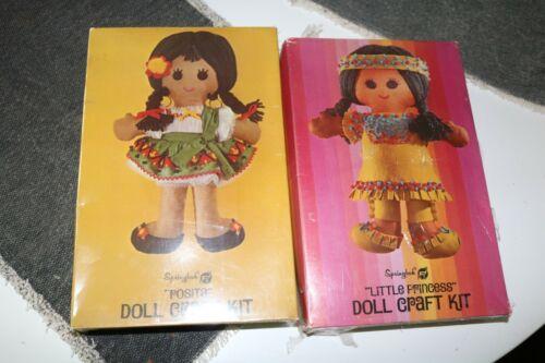 2 Vintage Springbok Doll Craft Kits - Little Princess & Posita - 1970