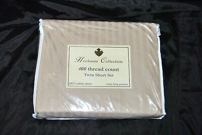 Heirloom Collection for Fortunoff TWIN Sheet Set Birch 400 TC Cotton Sateen (Heirloom Sheets)