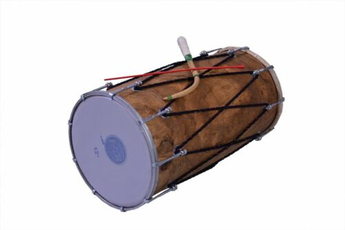Mango Wood Punjabi Bhangra Dhol Teak Wood Finish Free Padded Carry Bag Free Ship