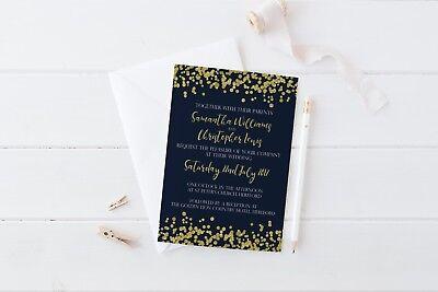 Winter Navy & Gold Confetti Wedding Invitation SAMPLE set Wedding Stationery](Wedding Stationery Sets)