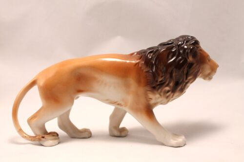 "VINTAGE ROYAL DUX PORCELIAN LION Czechoslovakia 9"" # 625 70"