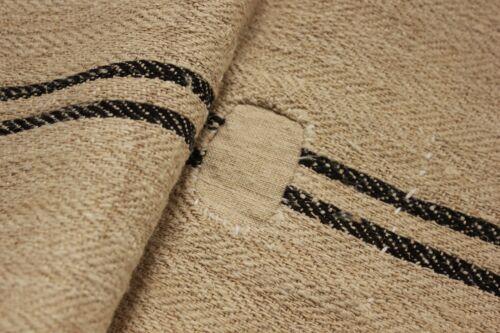 Vintage GRAIN SACK grainsack BLACK striped patched rustic RARE STUNNING linen