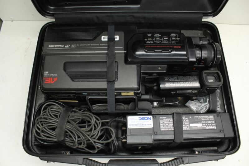 Panasonic AF Piezo VHS Reporter Movie Camera AG-160 W/ Case + Accessories