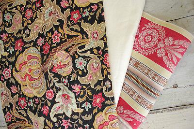 Antique Vintage French Fabric Coordinates bundles project Ticking  Floral