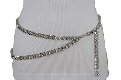 Women Belt Silver Chunky Metal Chain Thick Link Hip Waist Bling Plus Size M L XL ()