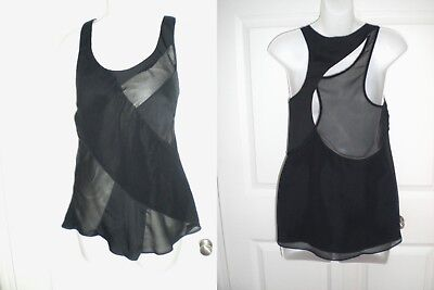 RAG & BONE BLACK SLEEVELESS ASYMMETRICAL CUT OUT RACERBACK TANK TOP~XS
