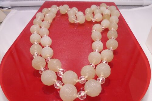 "110 Years Old Hand Carved Celadon Jade Beads 13mm 46"" L Floral Fruits Necklace"