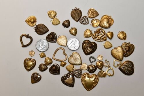 Victorian Style Brass Heart Stampings Findings over 1/8 pound