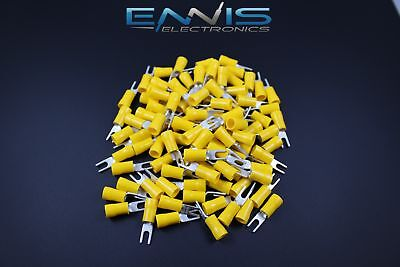 10-12 Gauge Vinyl Spade 6 Yellow 100 Pk Crimp Terminal Connector Awg Ga Car