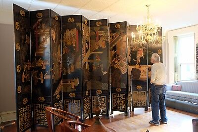 RARE CHINESE Coromandel Lacquer Wood Folding Screen