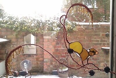 Stained glass Harvest mouse on grasses Art hanging  (finished item)