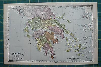 Greece Vintage Original 1895 Rand McNally World Atlas Map Lot