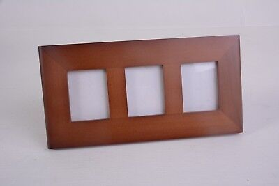 Philip Whitney Solid Wood Triple 2 x 3 Walnut Picture Photo Frame