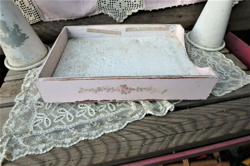 Shabby Chippy Pink Vintage Wooden File Tray