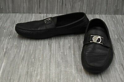 Versace Medusa Buckle V900494 Leather Driving Loafers, Men's Size 10, Black