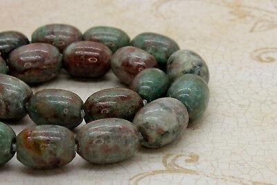 Red Green Garnet Smooth Round Tube Barrel Natural Gemstone Beads - 15.5