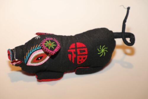 "China Folk Art Cloth Plush Figure Toy Pig Boar Fu Good Luck 6"" NWOT (pink ears)"