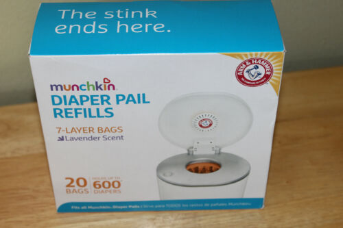 Munchkin Arm & Hammer Diaper Pail Refill Bags - 20-Count NEW -- Lavender Scent