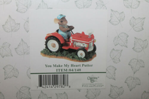 Charming Tails Fitz & Floyd You Make My Heart Putter 84/140 Mouse on Tractor New