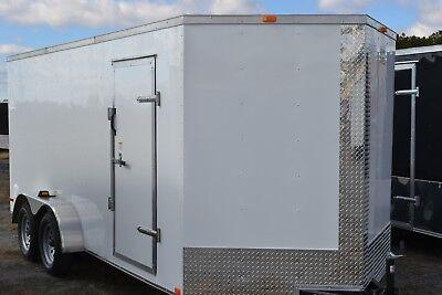 Enclosed cargo 7 x 16 tandem v nose, white, black  - options