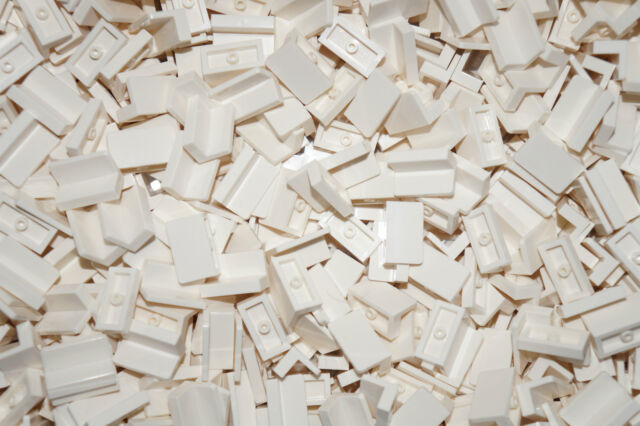 LEGO 25 x WHITE TILE PANEL BRICKS 1 x 2 (4865) ( lego city,friends,elves )