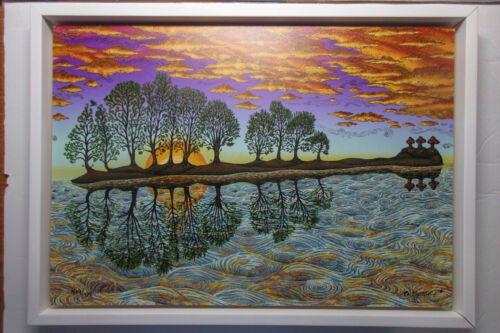 *FRAMED* EMEK Guitar Island Art Print on Wood Panel 10,000 Lakes Festival