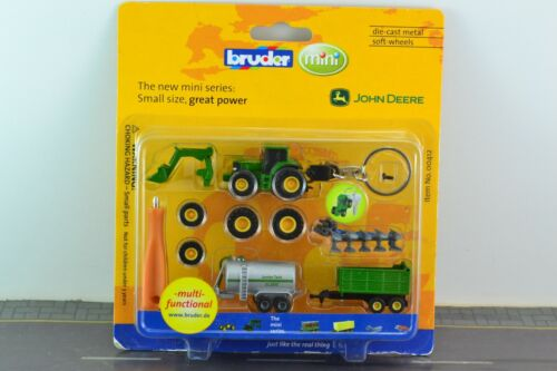 Bruder JOHN DEERE Tractor + Trailers Set KEY CHAIN Metal